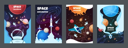 Cartoon space banners. Galaxy universe science child astronaut modern planet poster study banner. Vector brochure space frame Vectores