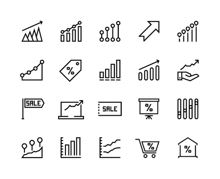 Sale graph line icons. Marketing business progress, dollar chart arrow up, money growth graphic. Vector business sale thin pictograms Illustration
