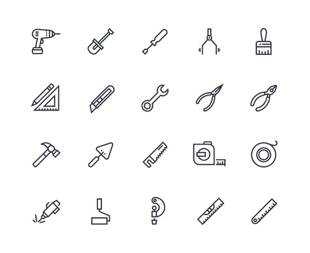 Construction tools line icons. Projecting and development toolbox, measurement instruments. Drawing and repairing vector tools Illustration