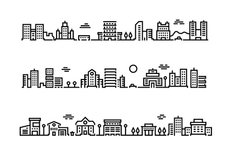 City outline landscape. Cityscape with business centers and offices skyscrapers public transport and cars. Vector suburban landscape