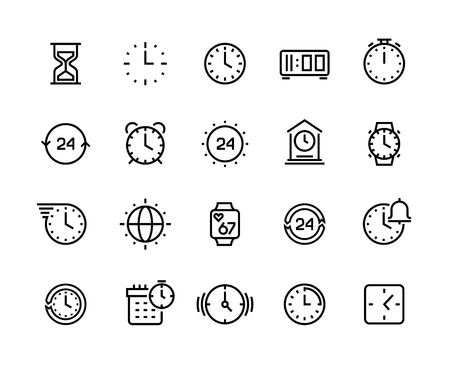 Time line icons. Clock calendar timer watch and hourglass vector symbols, waiting and working hours pictograms isolated on white Illustration