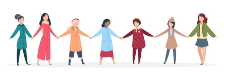 Female manifestation. Women holding hands, young people united together. Happy friendship vector concept
