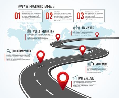 Feuille de route commerciale. Chronologie de la stratégie avec jalons, chemin vers le succès. Flux de travail, planification de l'infographie vectorielle de l'itinéraire