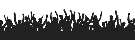 Dancing people crowd silhouettes. Concert audience dance party show stage shadow contour. Vector sport event fans group