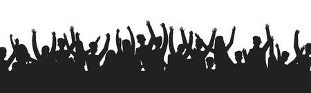 Les gens qui dansent foulent les silhouettes. Concert public dance party show scène ombre contour. Groupe de fans d'événements sportifs vectoriels