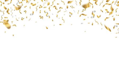 Goldene Feier Konfetti. Fallende Partybänder, Geburtstag fliegende Feiertagsdekoration. Vektorrealistisches Jubiläumsereignis Goldband