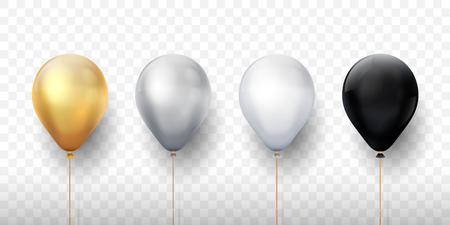 Realistic balloons. Golden 3d transparent party balloons, silver white birthday decoration. Vector flying party ballon set