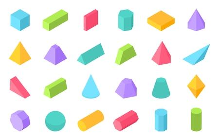 Isometrische Formen. Geometrische 3D-Form, Polygonobjekte mit flacher Geometrie wie Prismenpyramide-Zylinderkugel. Vektorisometrischer Satz