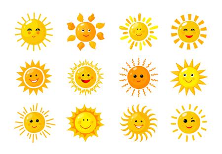 Emoji del sole. Divertente estate primaverile raggi di sole emoticon mattina felice bambino sole Cartone animato facce sorridenti solari vettoriali icone solari