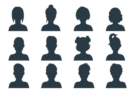 Silhouette person head. People profile avatars, human male and female anonymous faces. Vector user business portraits set Stock Illustratie