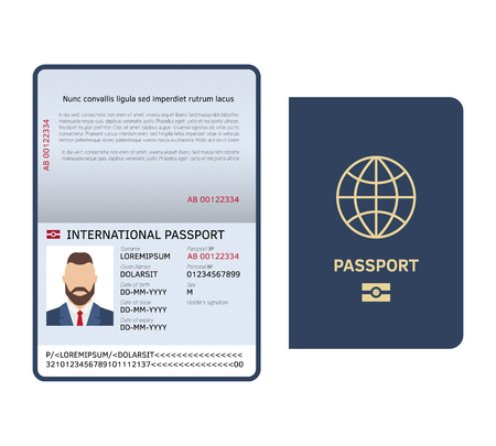 Open passport. Id document male photo page legal sample international passport isolated vector template Illustration