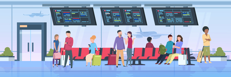 Airport terminal people. Travelers sitting waiting with luggage cartoon passengers on vacation. Flat vector illustration
