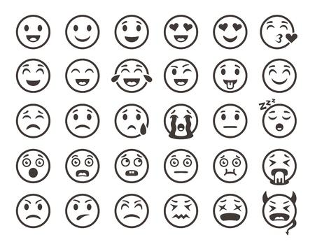 Emoticons skizzieren. Emoji Gesichter Emoticon lustige Lächeln Vektor Linie Icons Set