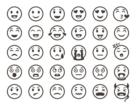Esquema de emoticonos. Emoji caras emoticon sonrisa divertida vector línea conjunto de iconos