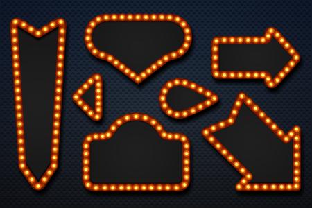 Retro marquee frames. Light bulb arrows vintage makeup mirror movie circus casino signboard. Vector 3D realistic frame set
