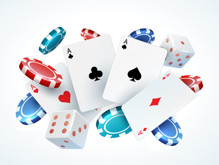 Playing cards chips dice. Casino poker gambling realistic 3D falling cards and chips isolated on white. Vector poker cards set Ilustração