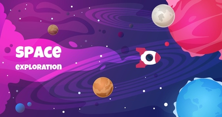 Space text background. Future galaxy shape science cartoon travel banner trip planet decoration. Vector copyspace cosmos flyer Stock Illustratie