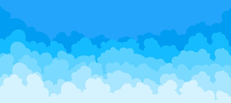 Cloud flat background. Cartoon blue sky pattern abstract cloudy frame cloudy summer poster scene. Vector clouds graphic wallpaper Illustration
