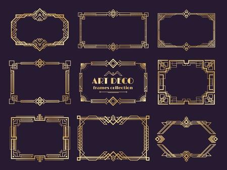 Art deco borders set. Golden 1920s frames, nouveau luxury geometric style, abstract vintage ornament. Vector art deco elements set