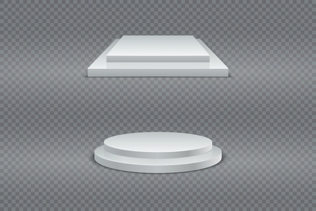 Winner podium set. Round and square 3d two-stage podium, pedestal or platform on transparent background. Vector set 向量圖像