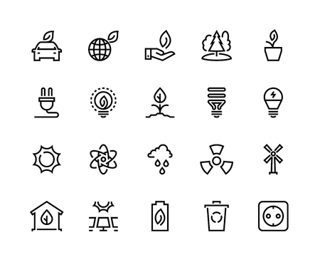 Ecology line icons. Eco nature green environment green water solar wind energy earth climate waste recycle. Environmental vector set