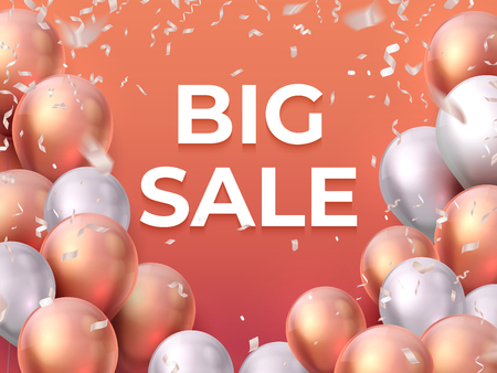 Sale balloon banner. Shop offer fashion flyer, party special promotion, flying balloons poster. Vector realistic 3D sale concept
