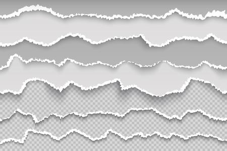 Strappa pagina di carta. Bordo trasparente del grunge della pagina strappata, cartone bianco rotto, struttura ruvida dell'album dei ritagli danneggiata. Texture di carta straccia vettoriale Vettoriali