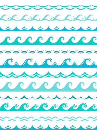 Sea wave borders. Seamless ocean storm waves wavy surface blue water splash silhouette elements horizontal frame vector isolated set Ilustrace