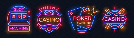 Casino neon signs. Slot machine jackpot banners, poker bar night billboard, gambling roulette. Vector casino neon web banners Ilustração