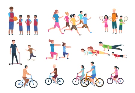 Physical activity. People flat fitness set with parents and children in sport activities. Isolated activity vector illustration