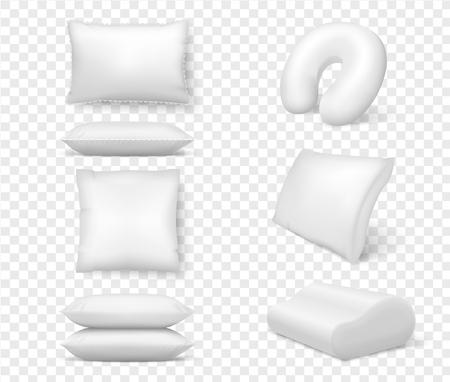 Realistic white pillows. Vector 3d comfortable cushion square anatomical. Template, mock up of white fluffy cushion for relaxation, sleep, nap, bedding, rest
