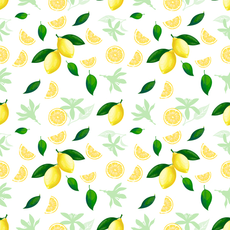 Lemon seamless pattern. Lemons cocktail citrus fruit texture summer yellow fresh repeating vector seamless background