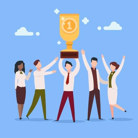 Cartoon work award. Office employee work reward businessman character professional prize people group. Success awards vector concept Illustration