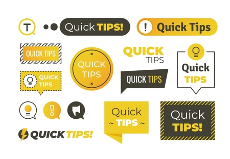Quick tips shapes. Helpful tricks logos and banners, advices and suggestions emblems. Vector quick helpful tips set