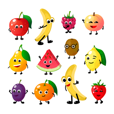 만화 재미있는 과일. 해피 애플 바나나 라즈베리 복숭아 배 수박 레몬 딸기 얼굴. 여름 과일 베리 벡터 문자 벡터 (일러스트)