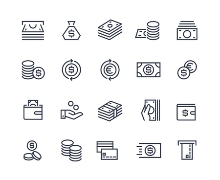 Money line icons. Business payment money market commercial exchange. Cash card wallet and coins vector symbols