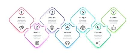 Infografik zum Linienfluss. 7 Schritte quadratische Timeline-Meilensteingrafik, Präsentationsbannerkonzept. Infografik zum Workflow mit den Vektor-7-Optionen