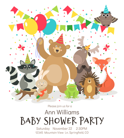 Happy birthday animals poster. Woodland forest animal baby shower kids invitation vintage vector card designs