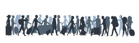 Silueta de personas de viaje. Turistas familiares de compras con bolsas grandes, persona de negocios con equipaje maleta. Vector conjunto de personas caminando