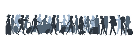 Travel people silhouette. Family tourists shopping with large bags, business person with suitcase luggage. Vector walking people set