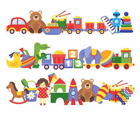 Toys pile. Groups of children plastic game kids toys elephant teddy bear train rocket ship doll dino vector set