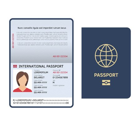 Passport document. Id international paper passport page with female photo legal sample isolated vector template