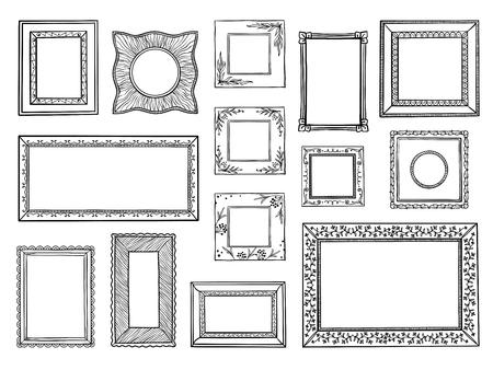 Handgetekende kaders. Doodle vierkante en cirkel boarders, vintage decoratieve schetsvormen. Vector doodle decoratieve boarders set