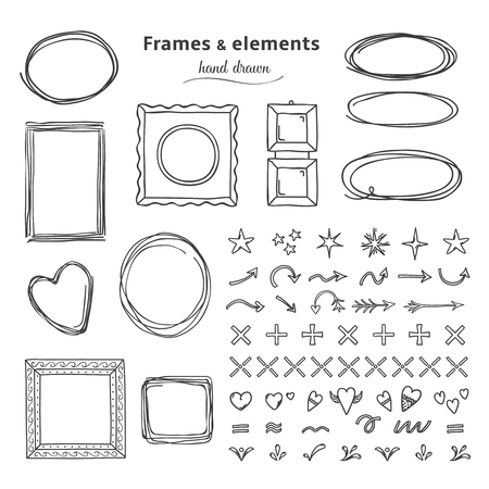 Doodle frames and elements. Hand drawn square round line frames, pencil sketch circle borders. Vector headline marker frame set 向量圖像