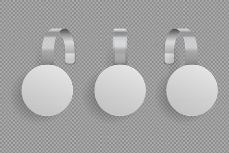 Modèle de wobbler 3D. Supermarché wobblers blanc blanc plié. Ensemble de maquette isolé de vecteur d'étiquettes en plastique à prix réduit Vecteurs