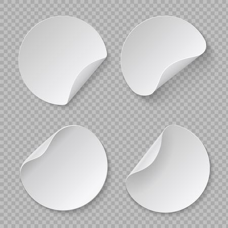 Round sticker mockup. White circle price tag, blank adhesive fold paper, cardboard banner template. Vector realistic label design set Ilustração