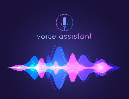Voice assistant sound wave. Microphone voice control technology, voice and sound recognition. Vector AI assistant voice background