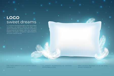 Realistic dream concept. Comfort sleep, bed relax pillow with feathers mockup, clouds stars on night sky. Dream vector background Illustration