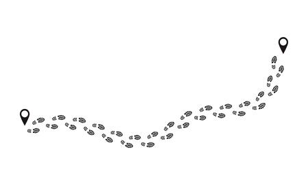 Fußabdruck-Route. Menschliche Abdrücke folgen der Spur, lustige Menschenschuhschritte, schwarze Fußspurenzeichen einzeln auf Weiß. Vektor-Fuß-Schuhabdrücke-Route
