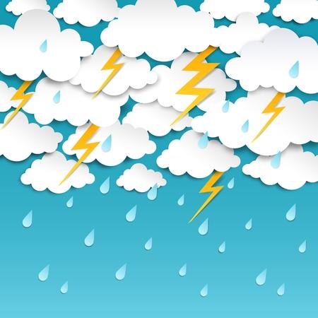 Paper cut rainy sky. Storm background, rain season weather poster, origami forecast banner. Vector outcast thunder rainy weather art Illustration